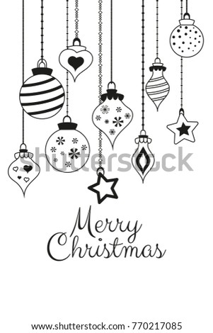 Vector monochrome greetings cards for Merry Christmas with balls, tree, flower, garlands, text for print and web