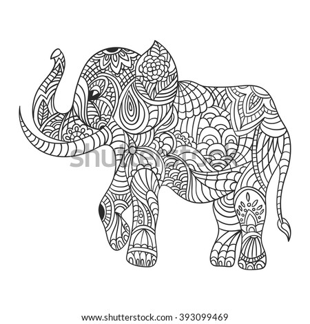 Vector monochrome hand drawn zentagle illustration of an elephant. Coloring page with high details isolated on white background. Boho style. - stock vector