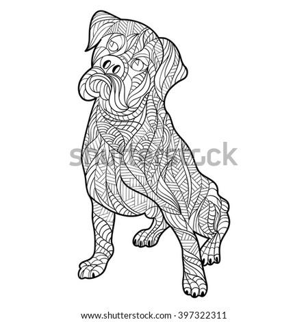 Vector Monochrome Hand Drawn Zentagle Illustration Stock Vector ...
