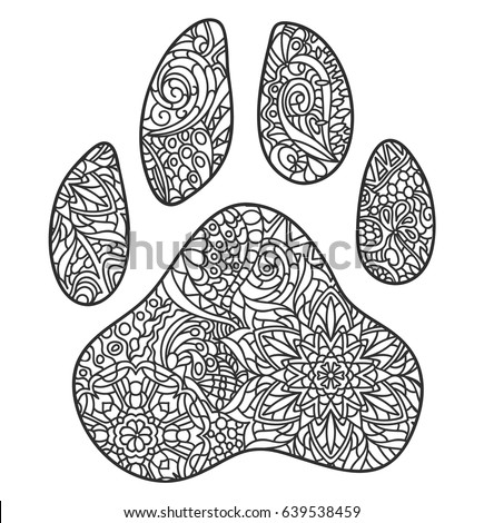 Vector Monochrome Hand Drawn Zentagle Illustration Of Dog Paw Print Coloring Page Isolated On White