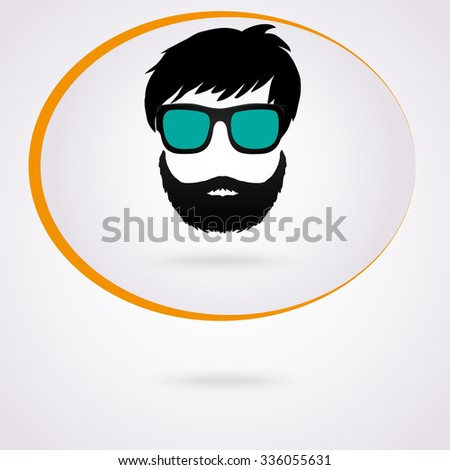 Vector monochrome hipster face character with beard, hair and sunglasses. Isolated illustration for graphic design and t-shirt printing. - stock vector
