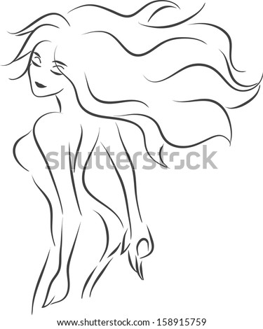 Vector monochrome image with slender elegant beautiful smiling nude woman/Silhouettes of nude woman  - stock vector