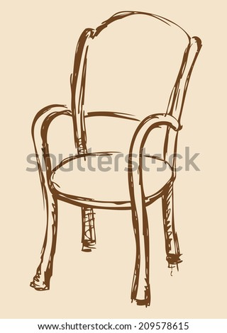 Vector monochrome line drawing sketches in style of pen on paper. Wooden chair with armrests, chipped a soft cloth isolated on beige backdrop. Used in cafes and restaurants - stock vector