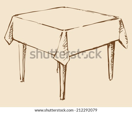 Vector monochrome line drawing sketches in the style of pen on paper. Square table with four legs covered with a tablecloth isolated on beige background. Used in cafes and restaurants - stock vector