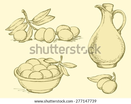 Vector monochrome line drawing style of book engravings. Sprig of ripe olives with leaves, a collection of fresh harvest olives in bowl and olive oil in a glass jug with a handle, corked - stock vector
