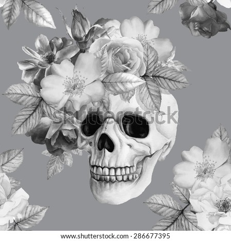 Vector monochrome picture. Hand-drawn black and white watercolor human skull and roses. Beautiful flowers and skeleton head. Vintage floral background - stock vector