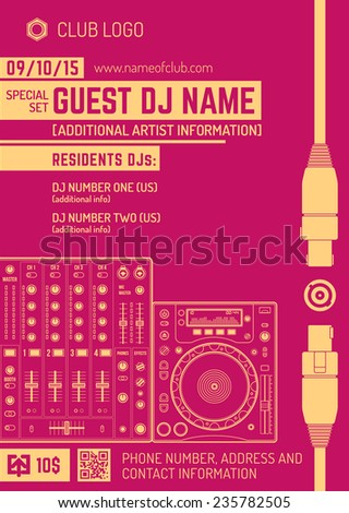 vector monochrome red orange club poster template with sound mixer and cd turntable - stock vector