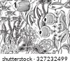 Vector monochrome seamless sea pattern with tropical fishes, algae, corals. Underwater world. Black and white hand drawn illustration - stock vector