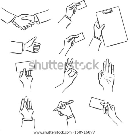 Vector monochrome set business of symbols with a man's hand: handshake, business card, success, tablet, sign the contract, cooperation/Set of business symbol with hand  - stock vector