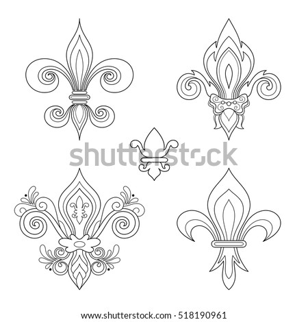 Vector Monochrome Set of Fleur-De-Lis. Beautiful Elements. Objects Isolated On White Background