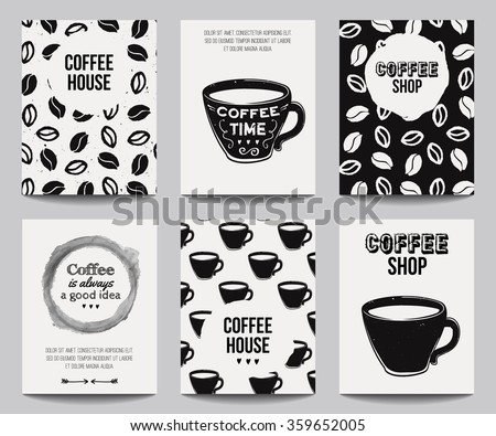 Vector monochrome set of modern posters with coffee backgrounds. Trendy hipster templates for flyers, banners, invitations, restaurant or cafe menu design.  - stock vector