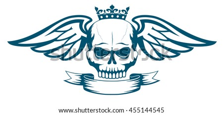 Vector monochrome tattoo or logo with skull, wings, crown and ribbon. Isolated on white background. Design for air force, biker or MMA fighter print - stock vector