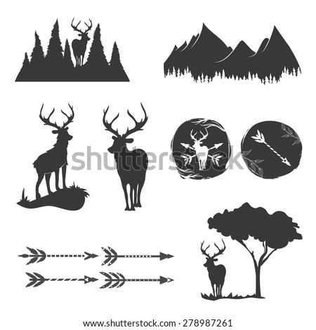 Vector monochrome vintage set of icons, emblems, logos and labels. Deers silhouettes, forest, trees, arrows, mountains. Trendy design elements - stock vector