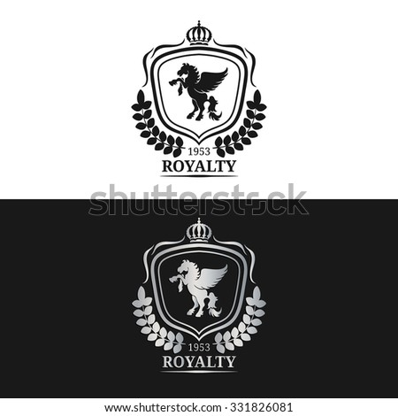 Vector monogram logo template. Luxury pegasus design. Graceful vintage animal. Calligraphic symbol illustration. Used for hotel, restaurant, boutique, invitation, jewellery, etc. - stock vector