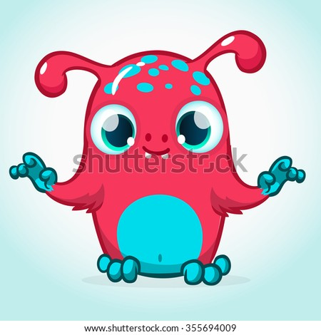 Vector monster cartoon character. Slimy pink alien with horns and big eyes. Furry monster icon  - stock vector