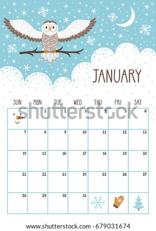 january 2018 calendars page