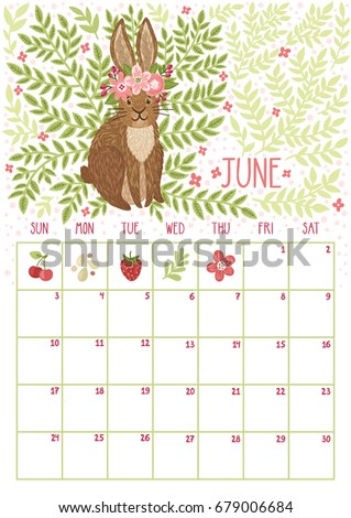 monthly calendar june 2018