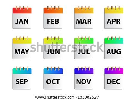 Vector months  calender - stock vector