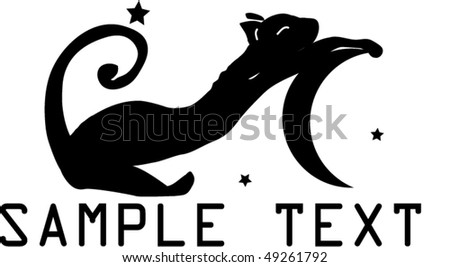 vector moon and cat - stock vector