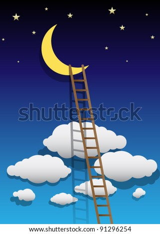 Vector Moon Illustration with Ladder - stock vector