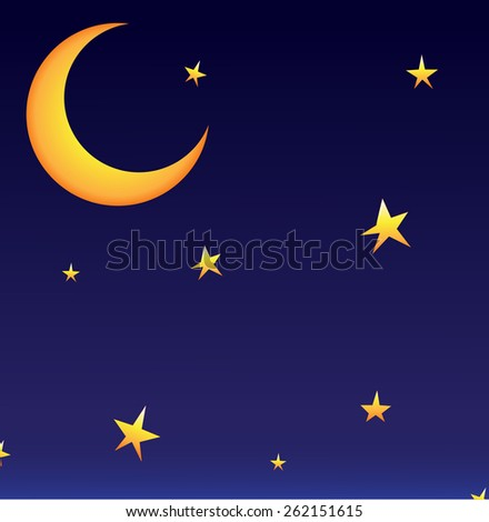 Vector moon with stars - stock vector