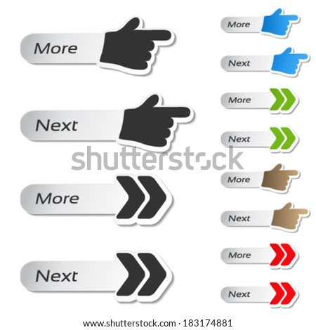 Vector more, next buttons - black and color hands and arrows icons