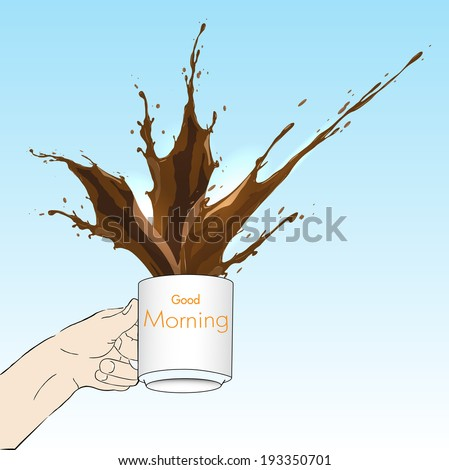 Vector morning concept with mug and Coffee splash - stock vector