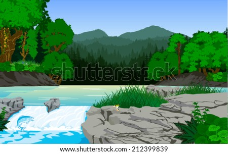 vector morning in beautiful mountains forest with river and fish - stock vector