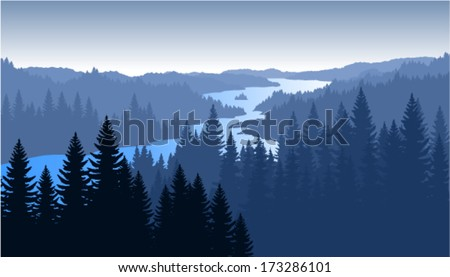vector morning in beautiful mountains with river - stock vector