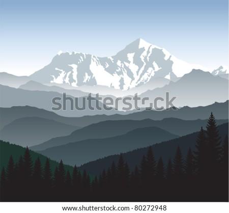 vector morning in mountains - stock vector