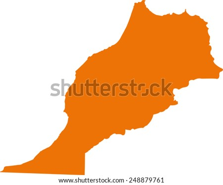Vector Morocco map on Africa  - stock vector