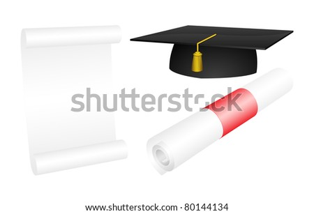Vector mortarboard with a rolled and opened diploma - stock vector