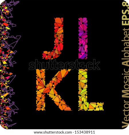 Vector mosaic alphabet. The letters J, I, K, L. Eps8. - stock vector