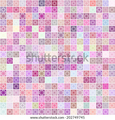 Vector mosaic background with scribble texture and simple ethnic decorative elements. Seamless geometric pattern. - stock vector