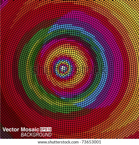 vector mosaic - Concentric circles - stock vector