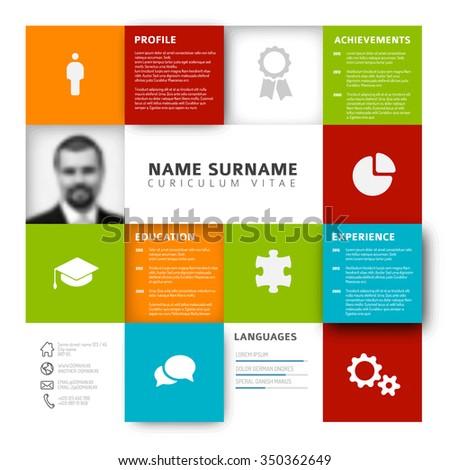 Vector mosaic minimalist cv / resume template profile - stock vector
