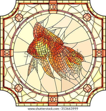Vector mosaic of gold fish in round stained-glass window frame. - stock vector