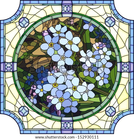 Vector mosaic with large cells of brightly blue forget-me-not with buds in round stained-glass window frame. - stock vector