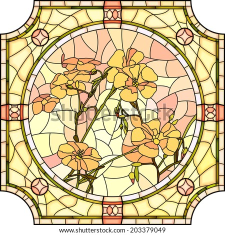 Vector mosaic with large cells of brightly orange flax with buds in round stained-glass window frame. - stock vector