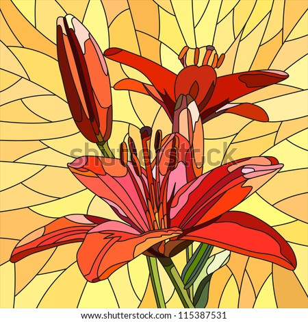 Vector mosaic with large cells of brightly red lilies with buds on yellow. - stock vector