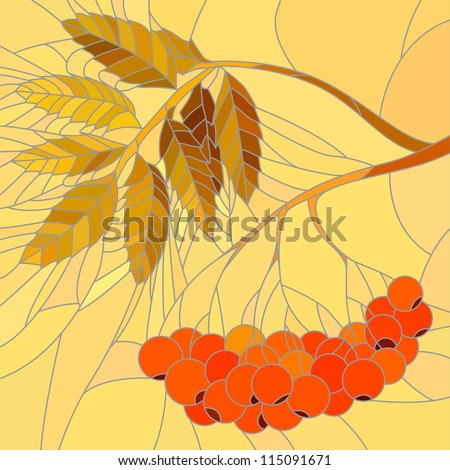 Vector mosaic with large cells of rowan branch with red berries and leaves in autumn on yellow background.