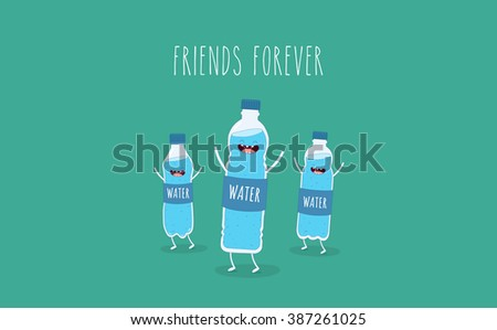 Vector motivation card. Funny bottle of water. Use for card, poster, banner, web design and print on t-shirt. Easy to edit. Vector illustration. - stock vector