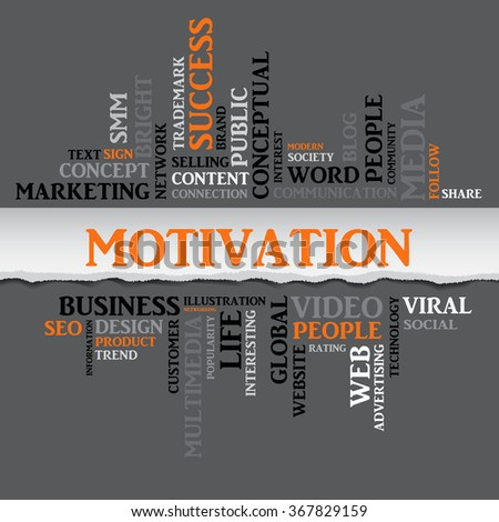 Vector MOTIVATION concept related words in tag cloud isolated on gray with different association internet, trade and business terms. The effect of torn paper  - stock vector
