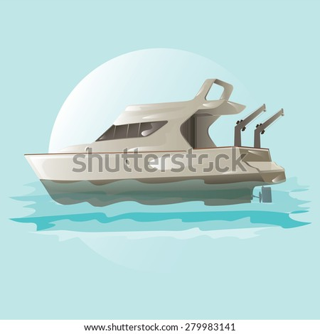 Vector motor boat isolated. - stock vector