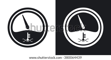 Vector motor temperature gauge icon. Two-tone version on black and white background