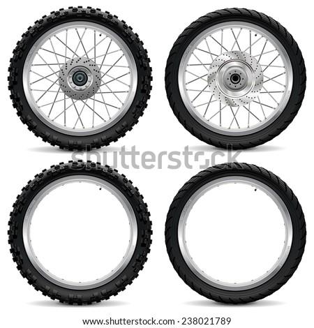 Vector Motorcycle Wheel Icons - stock vector