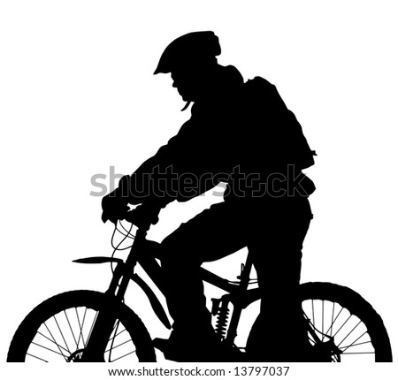 vector mountain biker silhouette - stock vector