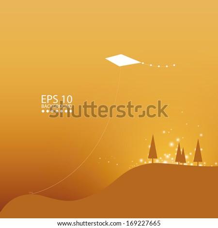 Vector mountain landscape design with kite in sky. - stock vector