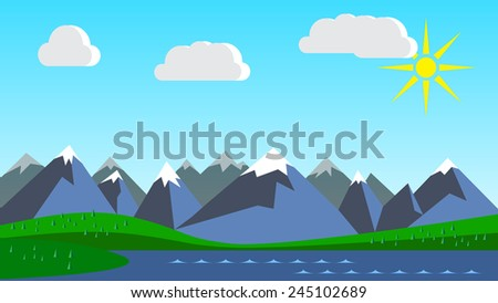 Vector mountains landscape with lake and forest - stock vector