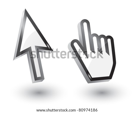 Vector mouse arrow  and hand pointers with shadow,3d - stock vector